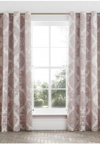 Catherine Lansfield Rocco Jacquard Fully Lined Curtains, Blush