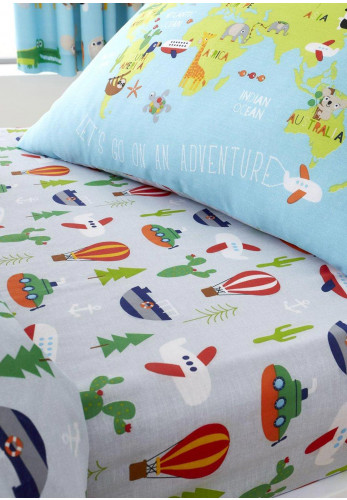Catherine Lansfield Animal Explorer Kids Fitted Sheet, Grey