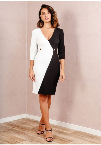 Cayro Monochrome Button Trim Dress, Black & White