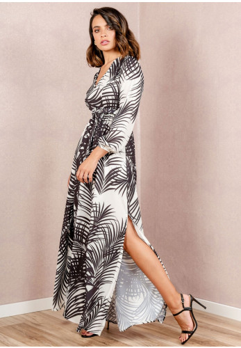 Cayro Palm Leaf Print Maxi Dress, Black & White