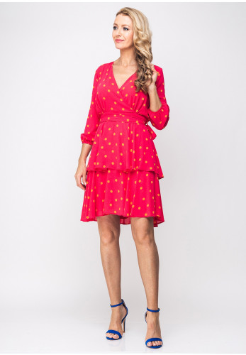 Cayro Polka Dot Print Ruffled Dress, Pink