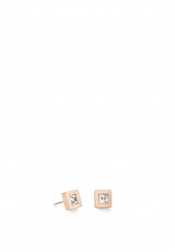 Coeur De Lion Small Square Earrings, Rose Gold