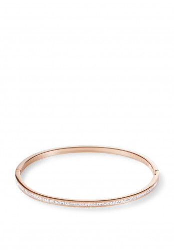 Coeur De Lion Slim Crystal Bangle, Rose Gold