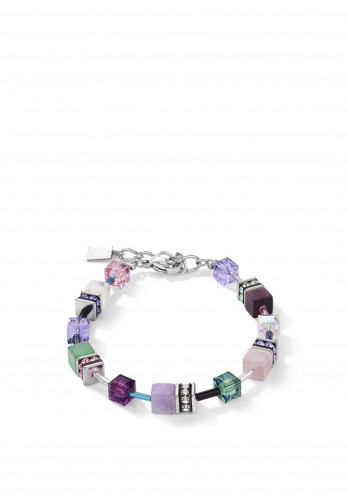 Coeur De Lion Geo Cube Crystal & Gemstones Necklace, Lilac & Green