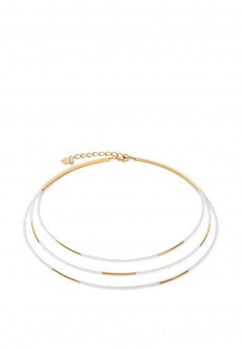Coeur De Lion Waterfall Necklace, Gold & White