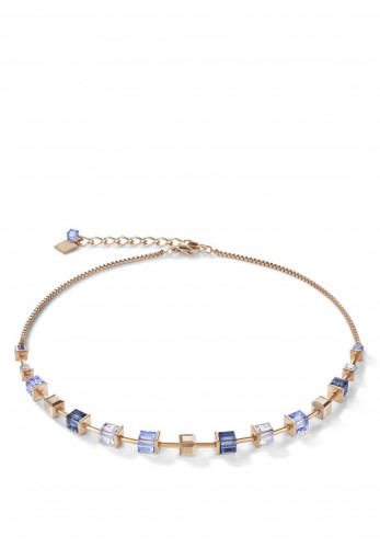 Coeur De Lion Monochrome Crystals Necklace, Blue & Rose Gold