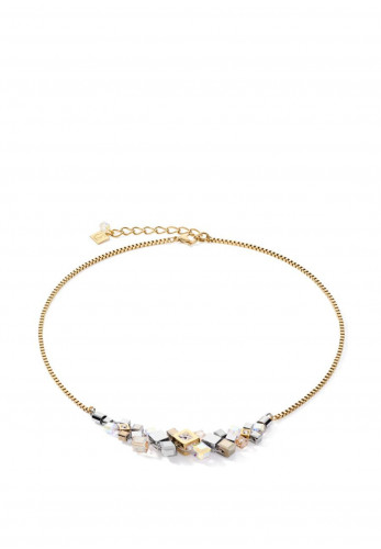 Coeur De Lion Geo Cube Cluster Necklace, Gold & Silver