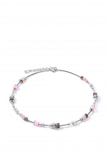 Coeur De Lion Pearls & Cubes Necklace, Silver & Rose