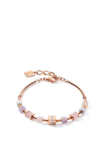 Coeur De Lion Big Geo Cube Crystal Bracelet, Rose Gold & Multi