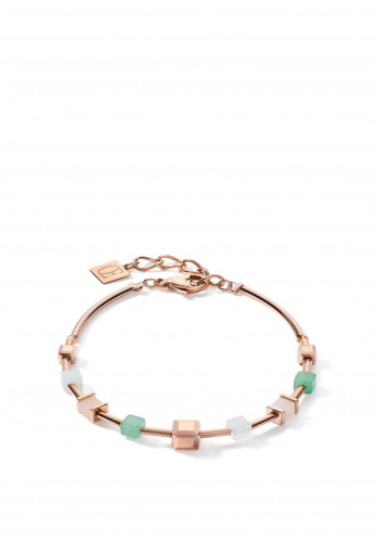 Coeur De Lion Big Geo Cube Bracelet, Rose Gold, Green & Beige