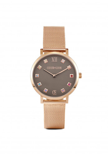 Coeur De Lion Mocha Matt Milanese Stainless Steel Crystal Watch, Rose Gold