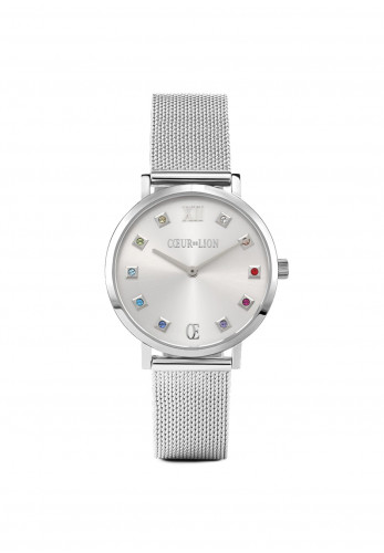 Coeur De Lion Silver Sunray Milanese Stainless Steel Watch