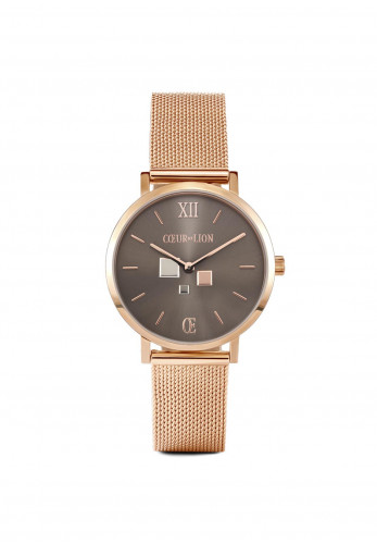 Coeur De Lion Mocha Matt Milanese Stainless Steel Watch, Rose Gold