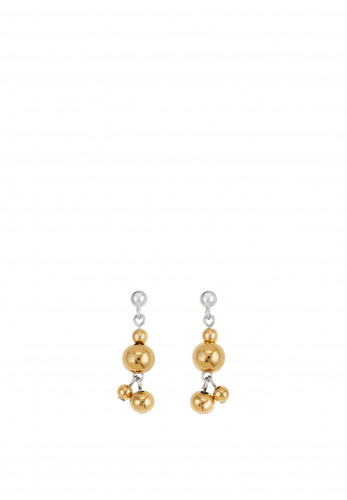 Coeur De Lion Gold Round Beaded Earrings, Silver