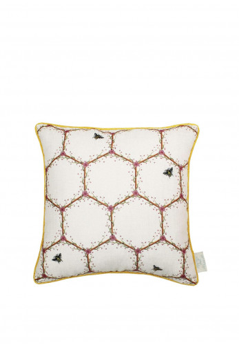 The Chateau Honeycomb Feather Cushion, Cream & Yellow