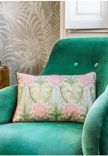 The Chateau Lily Garden Feather Rectangle Cushion, Multi-Coloured