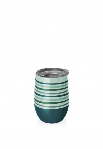 Chic Mic Thermo Cup 420ml, Green And Blue Stripes