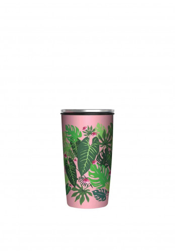 Chic Mic Slide Bamboo Cup Deluxe 430ml, Pink Jungle