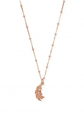 Chlobo Bobble Chain Heart in Feather Necklace, Rose Gold