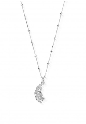 ChloBo Bobble Chain Heart in Feather Necklace, Silver