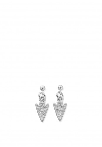 ChloBo Arrow Head Drop Earrings, Silver