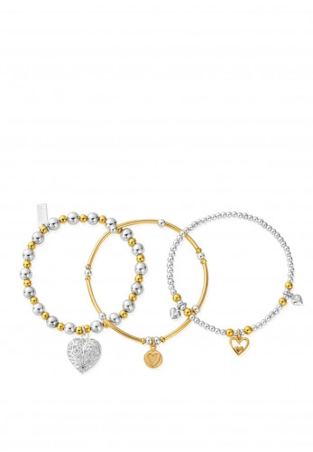 Chlobo Two-Toned Compassion Stack Bracelet, Silver & Gold
