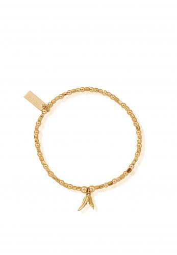 ChloBo Mini Cube Double Feather Bracelet, Gold
