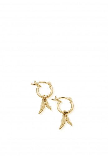 ChloBo Double Feather Hoops Earrings, Gold