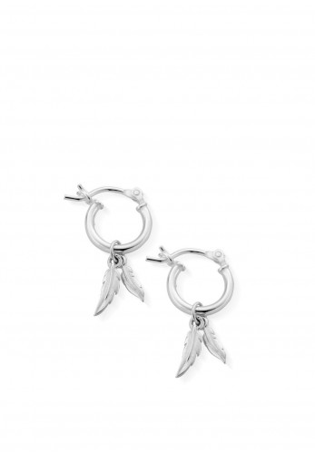 ChloBo Double Feather Hoops Earrings, Silver