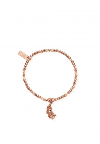 ChloBo Cute Charm Feather Heart Bracelet, Rose Gold