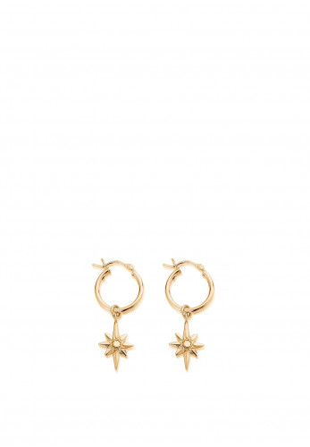 ChloBo Lucky Star Hoop Earrings, Gold