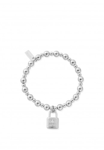 ChloBo Mini Small Ball Padlock Bracelet, Silver