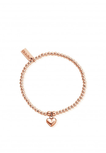 ChloBo Cute Charm Puffed Heart Bracelet, Rose Gold