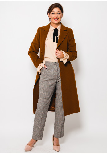 Christina Felix Wool Rich Belted Coat, Brown