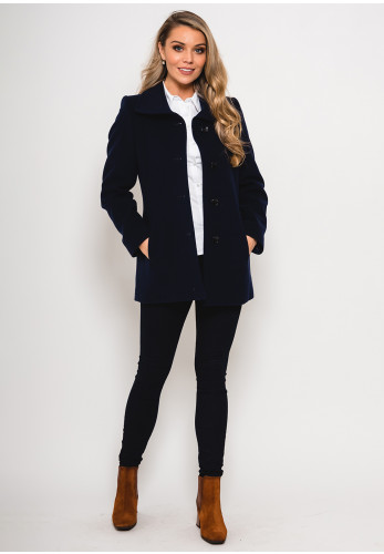 Christina Felix Wool Rich Lapel Collar Short Coat, Navy