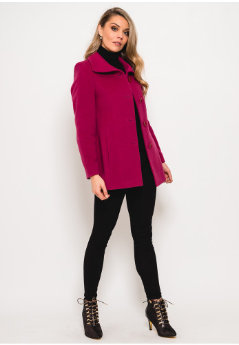 Christina Felix Wool Rich Lapel Collar Short Coat, Deep Pink