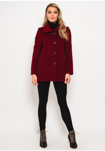 Christina Felix Wool Rich Lapel Collar Short Coat, Wine