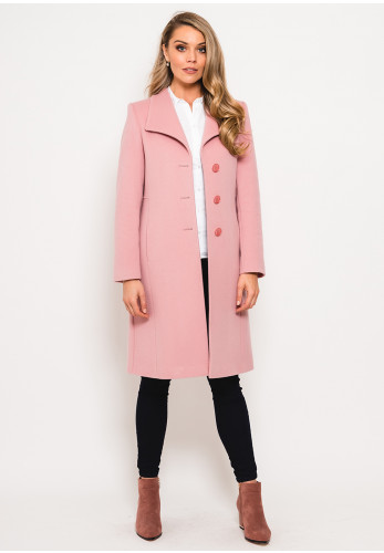 Christina Felix Wool and Cashmere Stitch Trim Coat, Rose Pink