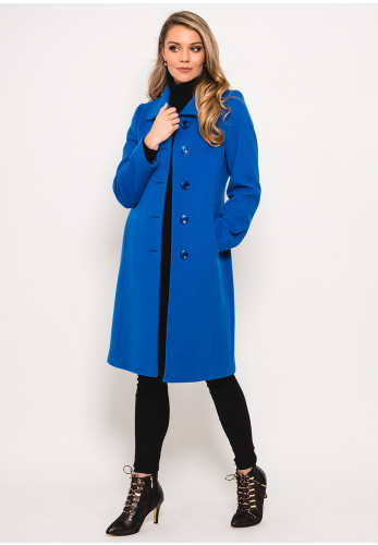 Christina Felix Wool Rich Stitch Trim Coat, Blue