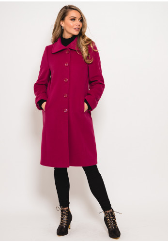 Christina Felix Wool Rich Stitch Trim Coat, Deep Pink