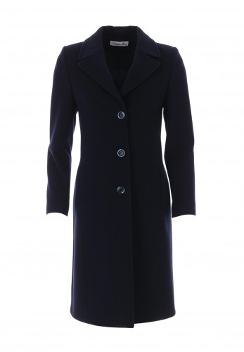 Christina Felix Wool & Cashmere Stitch Trim Coat, Navy