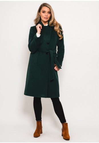 Christina Felix Wool & Cashmere Belted Coat, Forest Green