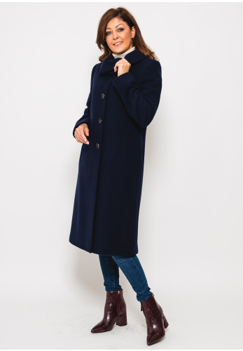 Christina Felix Shawl Collar Wool Rich Coat, Navy