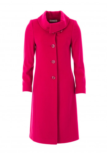 Christina Felix Shawl Collar Wool Rich Coat, Deep Pink