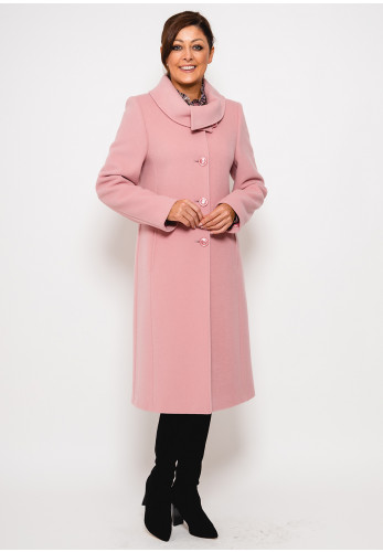 Christina Felix Shawl Collar Wool Rich Coat, Pink