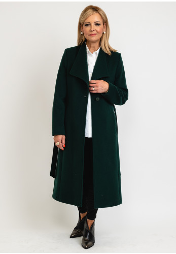 Christina Felix Single Button Belted Wool Rich Coat, Forest Green