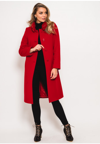 Christina Felix Wool Rich Faux Fur Collar Coat, Red