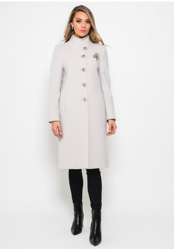 Christina Felix Brooch Trim Wool Coat, Beige