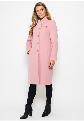 Christina Felix Brooch Trim Wool Coat, Pink