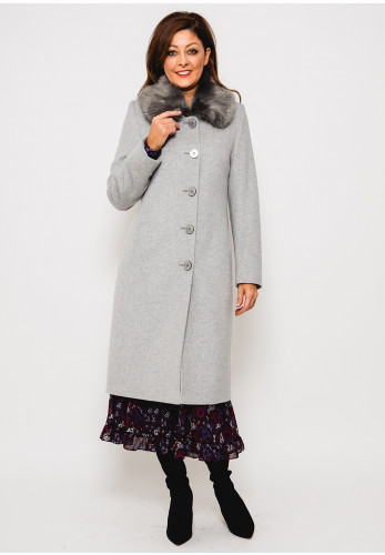 Christina Felix Faux Fur Collar Wool Rich Coat, Grey